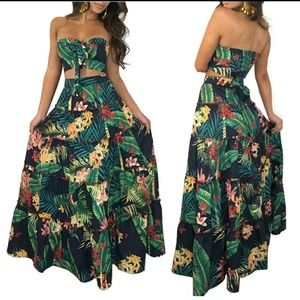 Bohemian Tropical Maxi Skirt Set